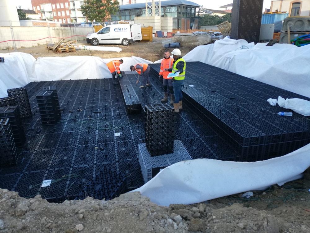 Terrassement, voirie, réseaux VRD et création d'un bassin de rétention par EMTP Florès, entreprise TP Montauban