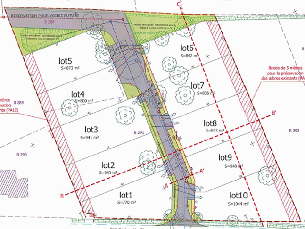Plan du lotissement Clos des Deux Chênes à Montbartier 82, nouveau terrain à bâtir viabilisé par Florès Aménagement